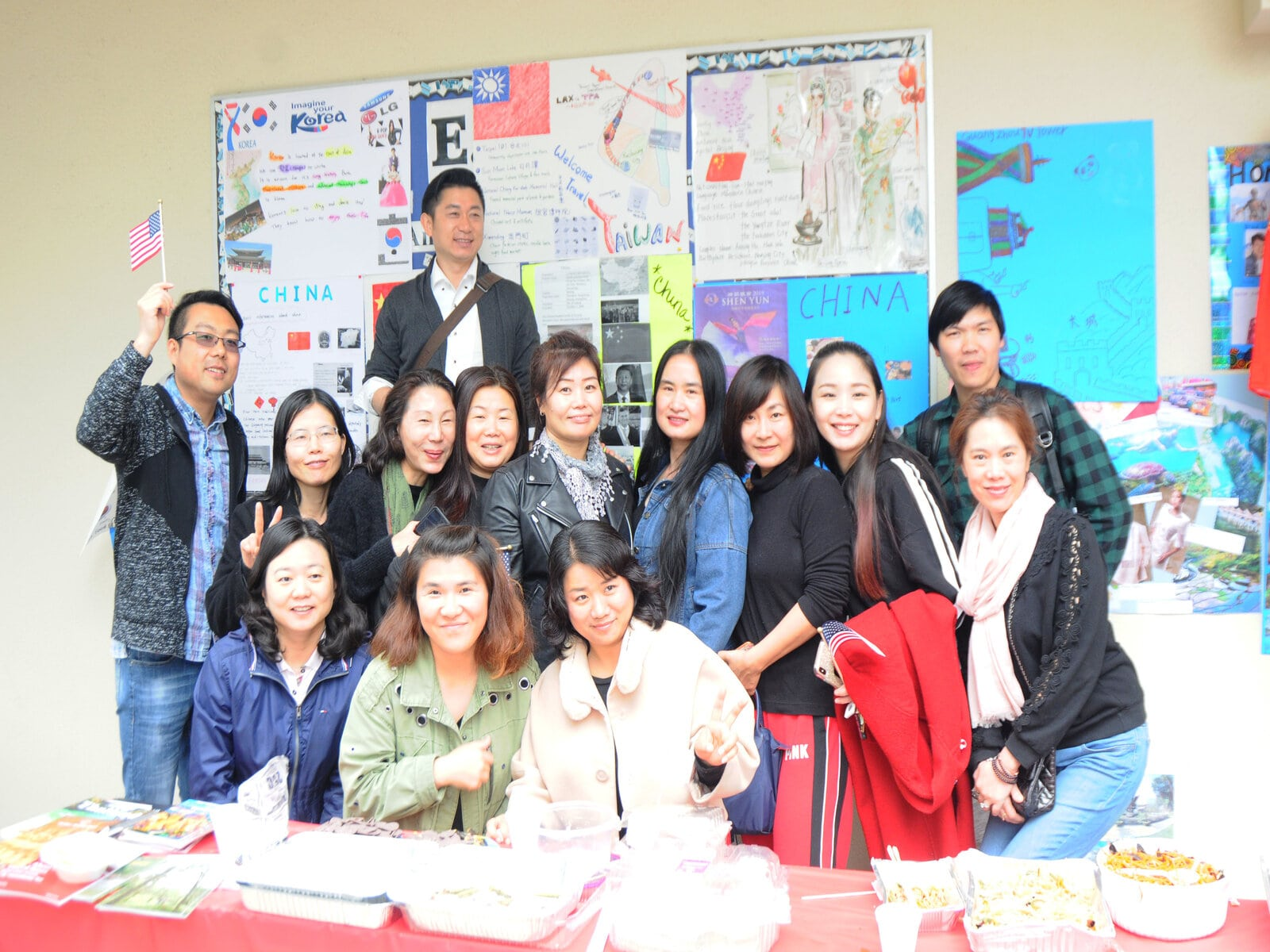 Chinese students near their booth
