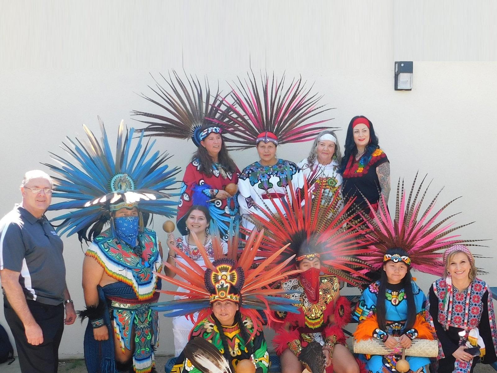 Principal Todd Haag, AP Nora H. Farraj, and Showcase Dancers