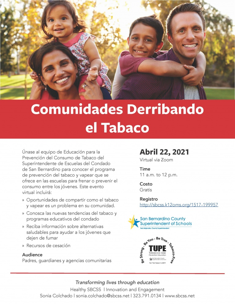Spanish flyer to register for the event