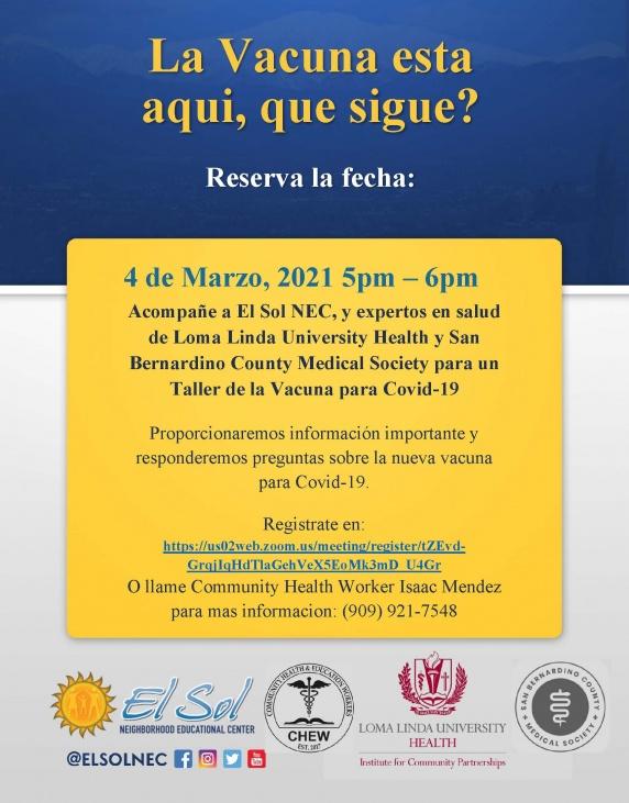 Vaccine Webinar Flyer (Spanish)